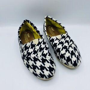 Toms Black White Houndstooth Slip On Flats 9
