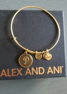 ALEX AND ANI INITIAL P GOLD TONED BANGLE BRACELET