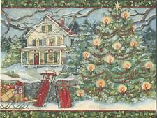 1 CHRISTMAS WINTER SNOW RED SLEIGH TREE WHITE HOUSE CANDLES HOLLY BLUE SKY CARD