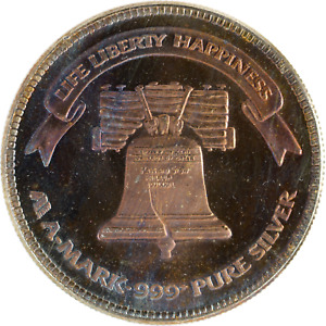 1 oz Silver Round 1985 A-MARK .999 Pure Liberty Bell Toned Vintage