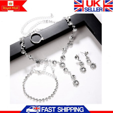 Diamond Crystal Rhinestone Necklace Earrings Bracelet Ring Wedding Jewellery Set