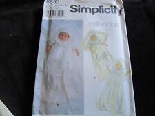 Simplicity Baby Newborn Christening Baptism Gown Coat #8853 Sizes XXS - L Uncut
