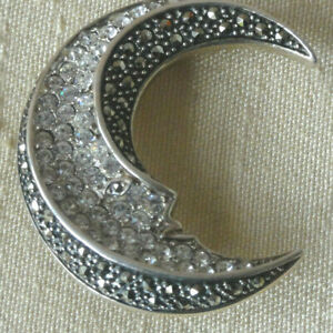 STERLING SILVER PIN PENDANT BROOCH CRESCENT MOON FACE MARCASITE CZ 925