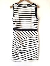 SOLOISTE White Black White Faux Wrap Gathered Exposed Zipper Dress Large L (E8)