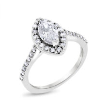 1.12 Ct Natural Diamond Marquise Halo Engagement Ring in Solid 14k White Gold