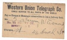 1896 Western Union Telegraph Co with Newburgh NY Telegram Enclosed