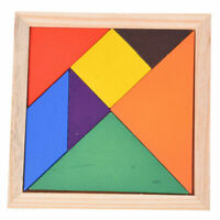 Educational Wooden Seven Piece Puzzle Jigsaw Tangram Brain Teasers Baby Toy D8G5