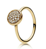 New Genuine PANDORA Dazzling Droplet Ring 14K Gold Vermeil 191009CZ