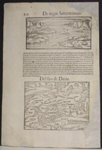 DENMARK & SWEDEN 1554 MÜNSTER SCARCE ANTIQUE WOODCUT MAP ITALIAN EDITION