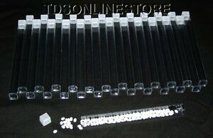 Package of 100 Square Clear Plastic Storage Tubes 6 Inch Long