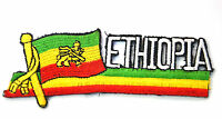 RASTA ETHIOPIA FLAG  Embroidered Iron Sew On Cloth Patch Badge  APPLIQUE