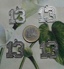 (R-9002)  9 COLGANTES Nº 13  COLOR PLATA  24 X 21mm  ABALORIOS