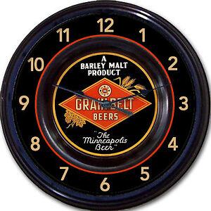 Grain Belt Beers Tip Tray Wall Clock Minneapolis MN Barley Malt Ale Lager New
