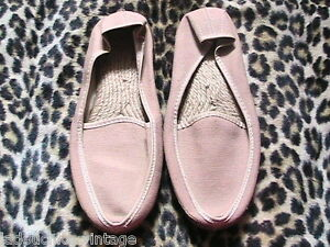 FRENCH 1950s MEN SUMMER LOAFERS ESPADRILLES SHOES ~TAN CANVAS~ CREPE SOLE ~NEW~5