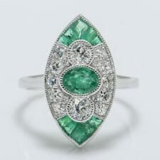 Art Deco SOLID 18k White Gold 1.61ctw Genuine H-SI2 Diamond & Emerald Ring 3.5g