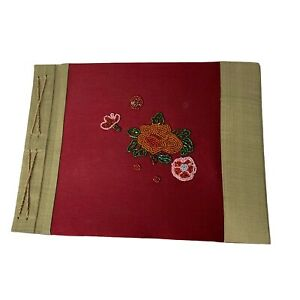 3D Flower Beaded Decorated Cover Photo Album Red 20 Pages 10.5 X 8.5