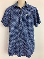 BOYS TED BAKER CASUAL BLUE & WHITE PATTERNED SHORT SLEEVE SHIRT SIZE L 14 YEARS