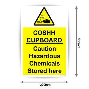 COSH Cupboard Caution Hazardous Chemicals Stored here Sign Vinyl Sticker V1088