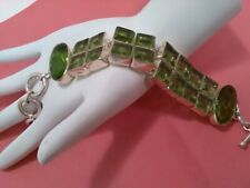 Sterling 925 Toggle Bracelet with green stones