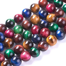 5 Strd Colorful Natural Tiger Eye Round Beads Smooth Mini Stone Loose Spacer 8mm
