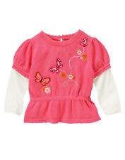 NWT 5T GYMBOREE TODDLER BUTTERFLY GIRL PINK FLORAL EMBROIDERY L/S SWEATER TOP