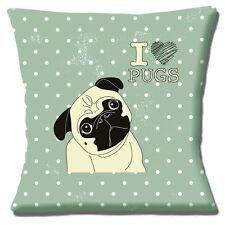 """NUOVO Carino """"I LOVE PUGS"""" Dog Design SAGE White Spot Crema 16 """"Cuscino Coprire"""