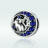 Authentic 925 Sterling Silver Kitty In The Moon Charm Bead Jewelry Fit Bracelet