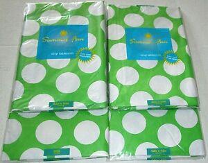 SUMMER FUN Vinyl Tablecloth Assortment  GREEN W/ WHITE CIRCLES [Your Choice]