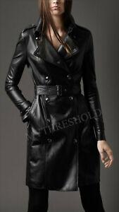 Ladies Women Black Genuine Real Leather Designer Trench Coat
