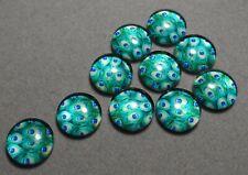 10 x 12 mm 'BLUE & GREEN - PEACOCK' Flat backed Acrylic Cabochons      (e630)