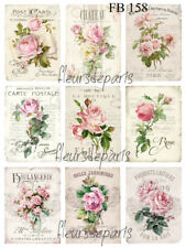 Shabby Chic Vintage French Rose 9 Small Prints on Fabric Quilting Sewing FB 158