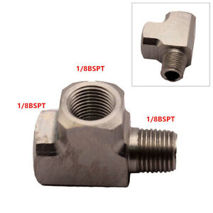 "1x For Air Oil Water Pressure Sensor Gauge Mild Adapter T Tee Fitting 1/8"" BSPT"