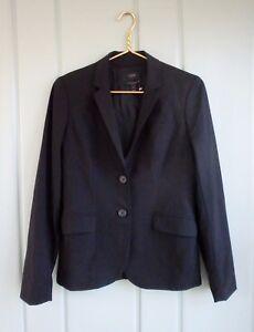 J Crew 1035 Womens 6 Bi Stretch Tollegno 1900 Black Wool Stretch Blazer Italy