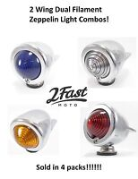 Zeppelin Turn Signal Light Combo 4 PACK Dual Filament Bullet Style NEW 2FastMoto