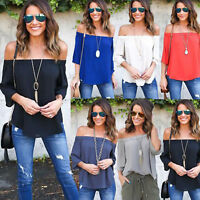 Womens Off Shoulder Strapless Chiffon T-Shirt 3/4 Sleeve Casual Loose Top Blouse