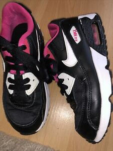 Girls Black And Pink Nike Air Max Trainers Size 13