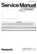 Panasonic Viera TC 60CX800U 4K UHD 3D Smart LED TV Service Manual