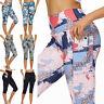 Womens 3/4 Capri Yoga Pants Gym Fitness Sports Cropped Leggings Pockets Trousers