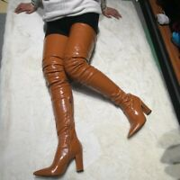 Women Over The Knee Boots Square High Heels Pointed Toe Shoes Women  Size 5-15