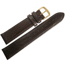 19mm Fluco Brown Teju Lizard-Grain Leather GOLD Buckle German Watch Band Strap