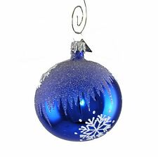 Blue Snowflake Handcrafted Christmas Ball Ornament - Handblown Glass