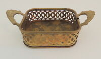 "Small Vintage Filigree Brass Tray Dish 3"" x 3.5"" Handles"