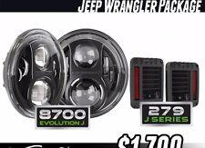 JW SPEAKER 8700 EVOLUTION J2 SERIES HEADLIGHT + Tail Lights package JK New Jeep