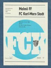 Orig.PRG   IFC - Intertoto Cup  1988  FC KARL MARX STADT - MALMÖ FF  !!  SELTEN