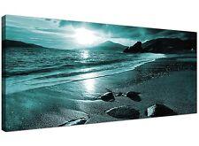 Teal Cheap Canvas Print of Beach Landscape  - 120cm x 50cm - 1079