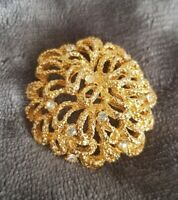 Vintage Goldtone Diamante Gilt BRUTALIST Abstract Encrusted textured Brooch Pin