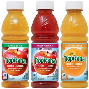 Tropicana 100% Juice 3-Flavor Fruit Blend Variety Pack, 10 Ounce (Pack of 24)