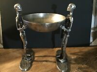Spooky Night Halloween 2-STANDING METAL Silver SKELETONS WALKING DEAD wi/ bowl