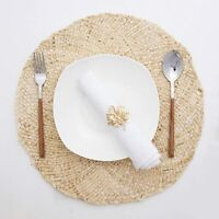4 Pack 15'' Natural Corn Husk Woven Placemats Heat Resistant Non-Slip Table mats