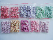 110g Mixed Color Craft Style Acrylic Flower Beads pink, purple, green, magenta